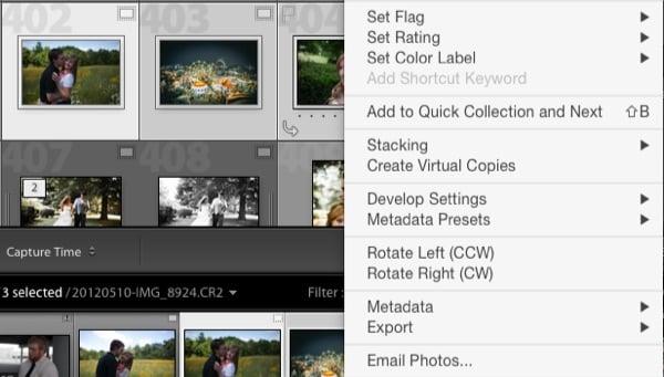 E-mail photos using Lightroom