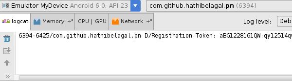 Registration token in logcat