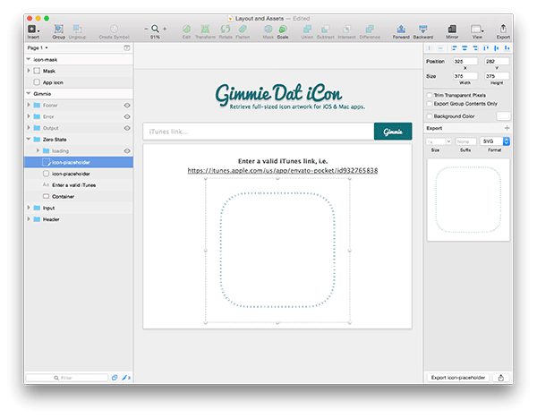 Screenshot of outputing icon placeholder in sketch