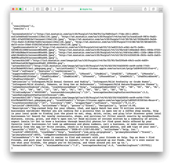 Screenshot of iTunes API response