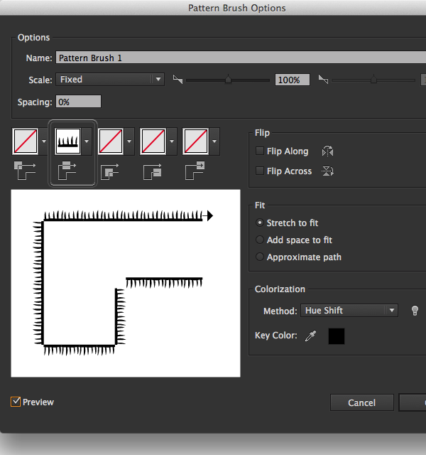 pattern brush options