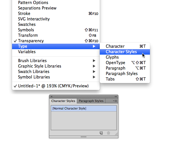 character styles panel