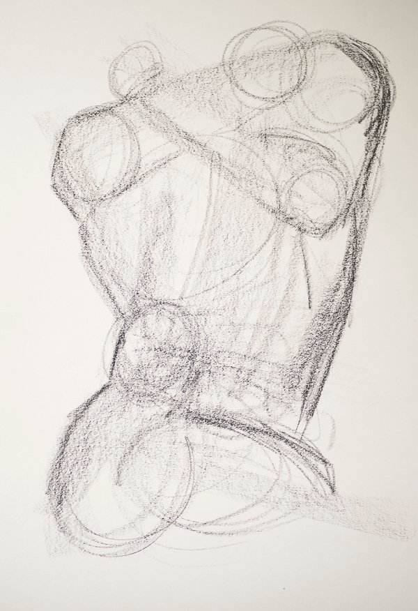 Drawing in joints in your charcoal sketch