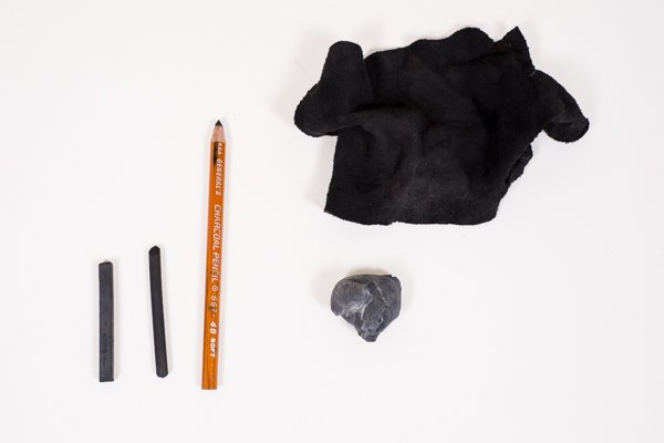 supplies for sketching with charcoal