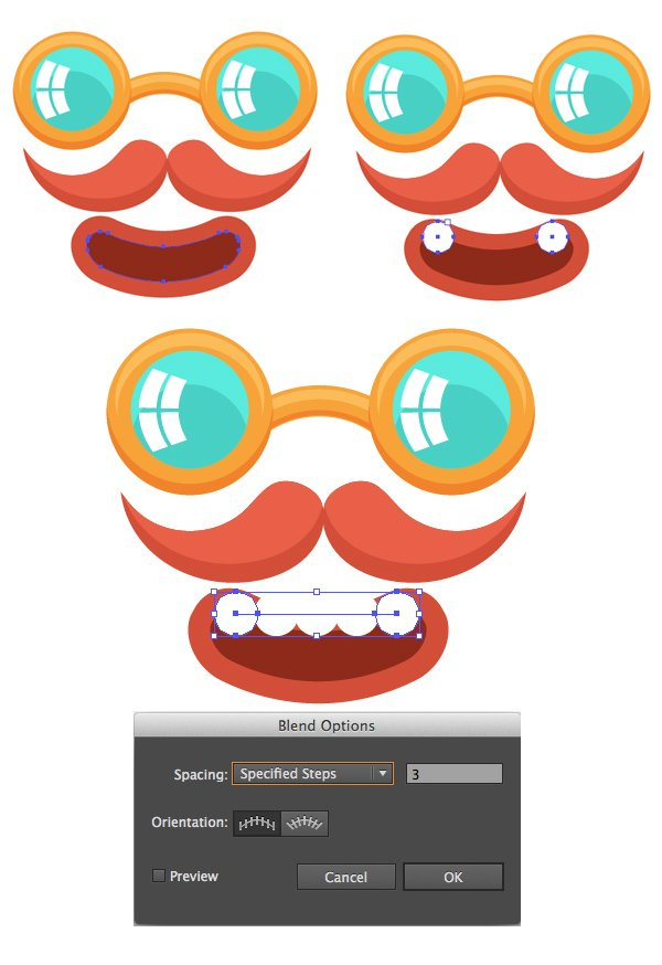 use blend tool for the teeth