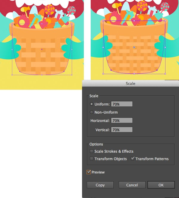 Apply the created pattern to the basket and use Scale Tool S
