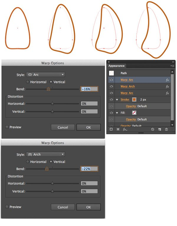 create horns with Arc and Arch Warp effects