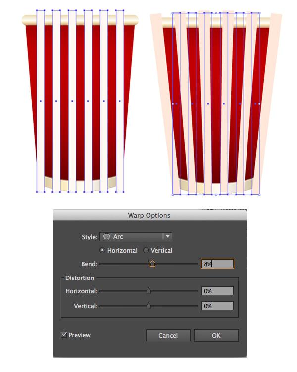 make stripes with warp effect