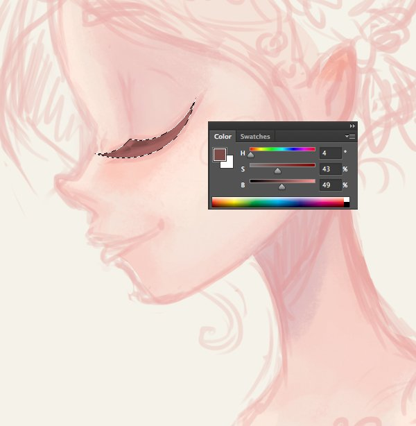 color the eyelashes