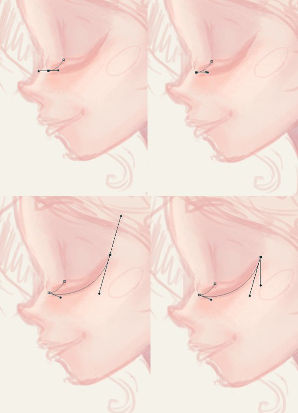 form the eyelashes with the pen tool