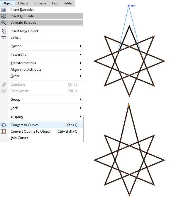 Convert the star to Curves and extrude the points