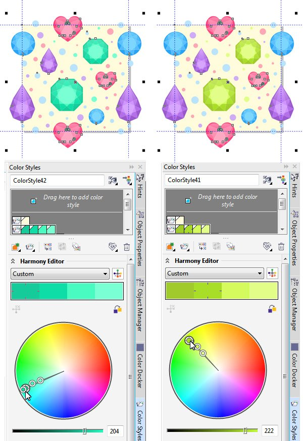 change the colors of the gems in the Harmony Editor