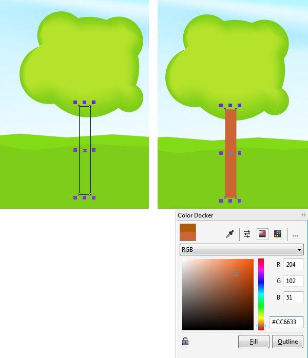 Lets add a tree trunk using the Rectangle tool