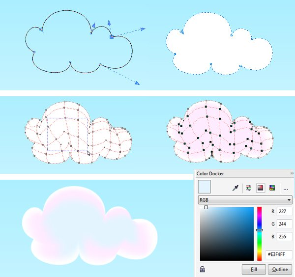 create smaller cloud with mesh fill
