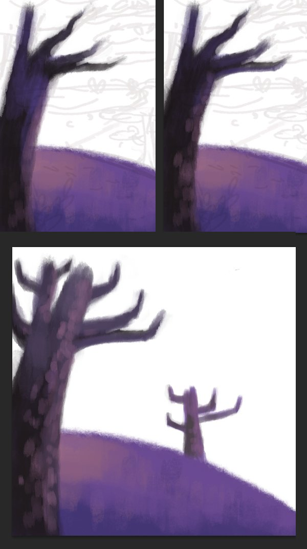 Paint the tree trunks with dark-brown color