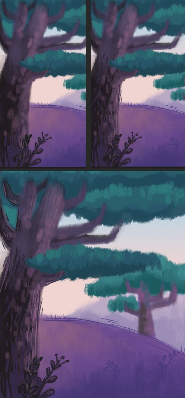 add details to the foreground and tree trunk