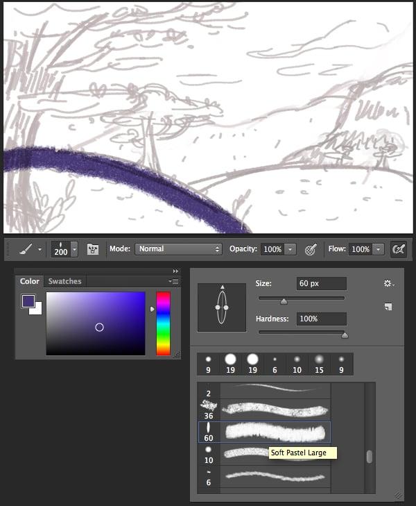 Use the Soft Pastel Large brush and start painting
