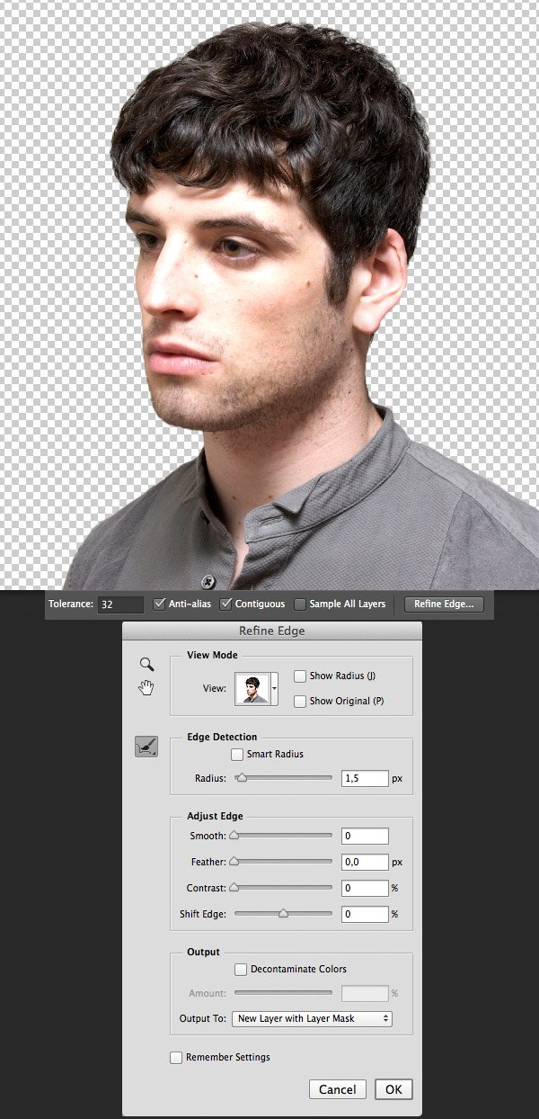 use the refine edge to cut out the portrait