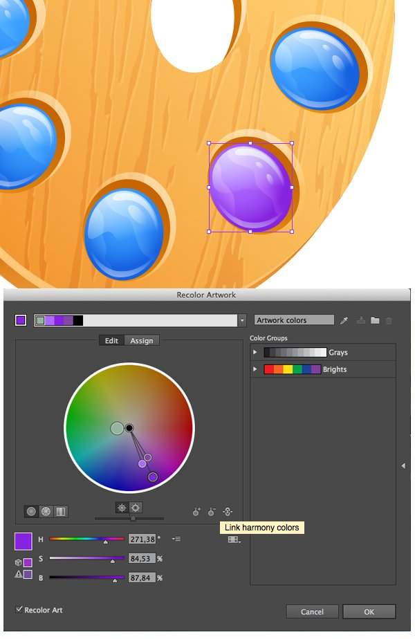 use the Recolor Artwork to vary colors