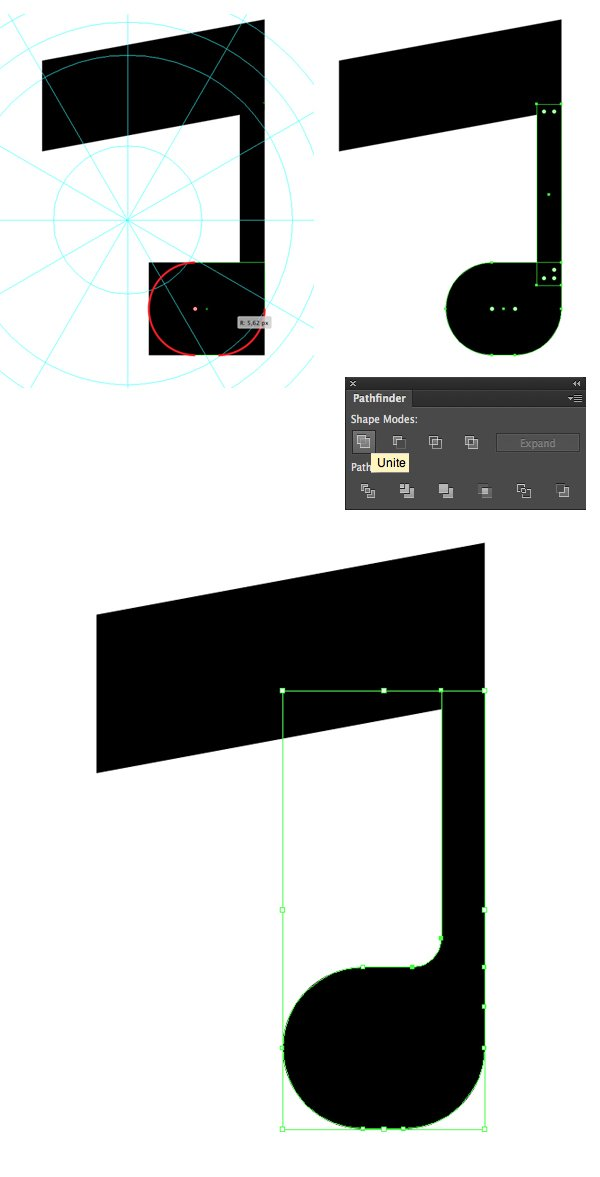 unite the shapes and make the corners rounded