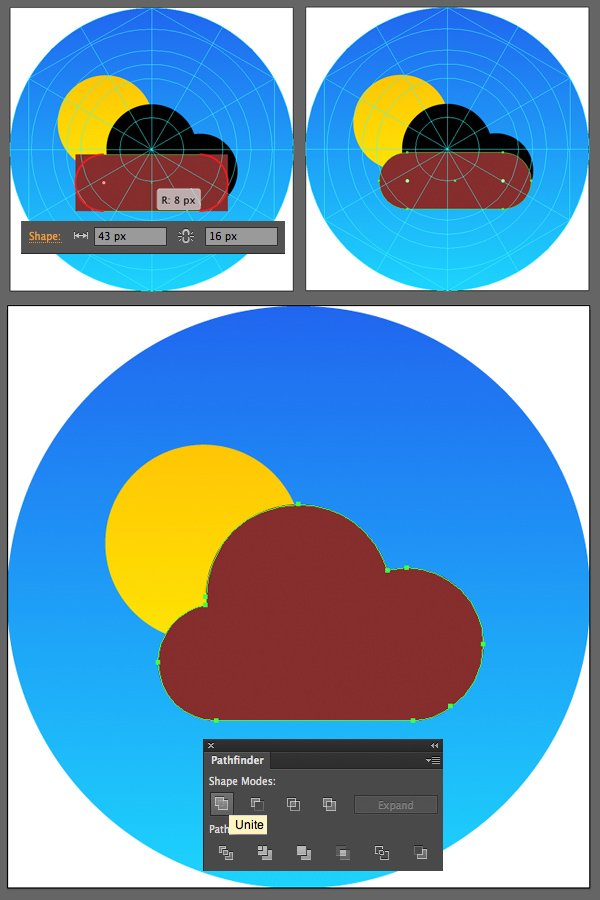 add the bottom part of the cloud with the rectangle tool