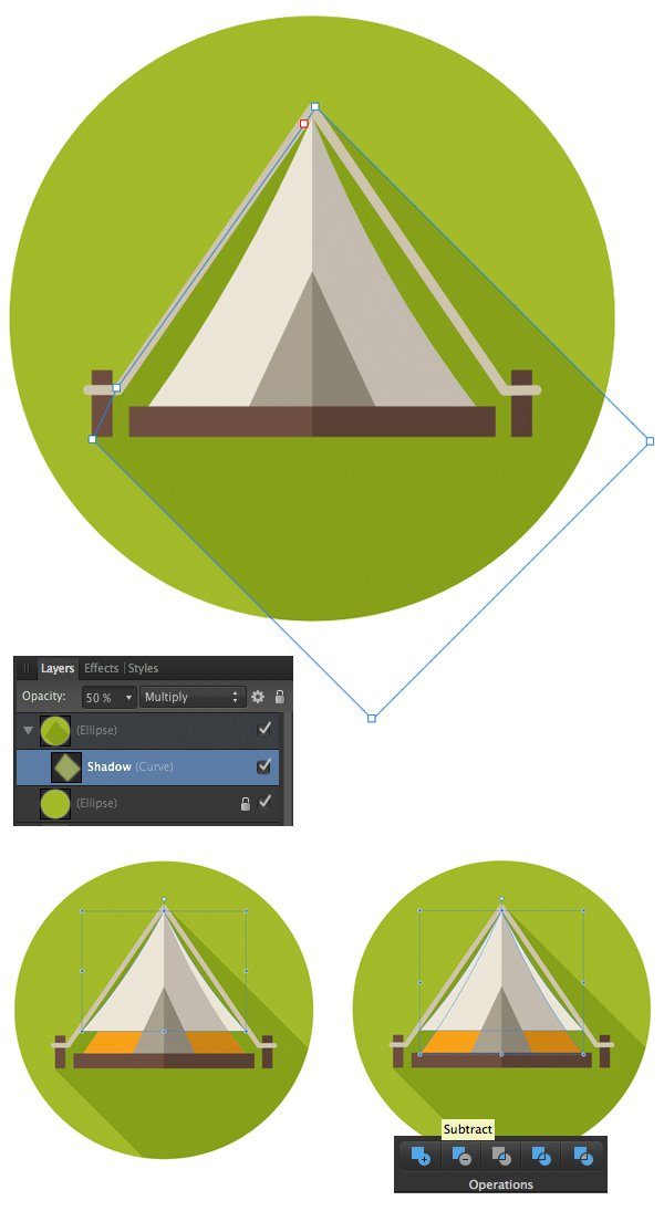 create a long shadow and add details to the tent
