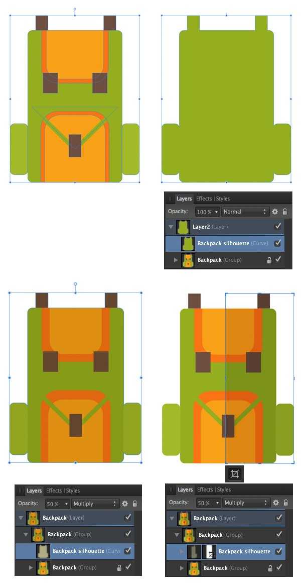 create a shadow with the vector crop tool