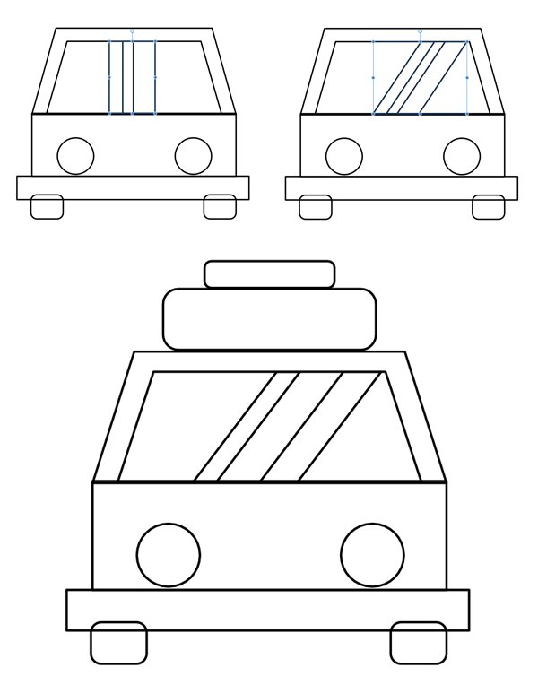 add the reflections and the luggage on the top of the car