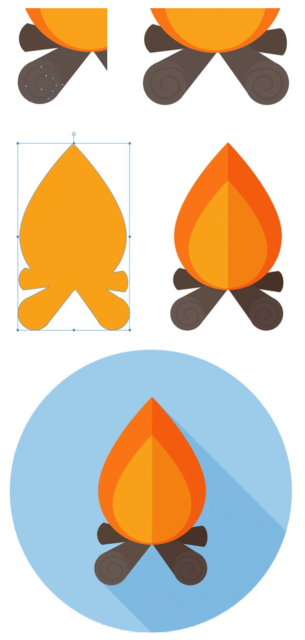 add details and shadow to the fire and form the icon base