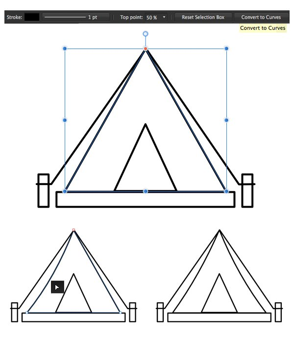 bend the sides of the tent with the node tool