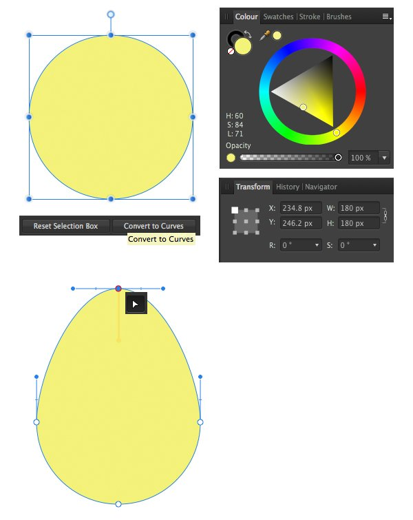 make a base of avocado from ellipse