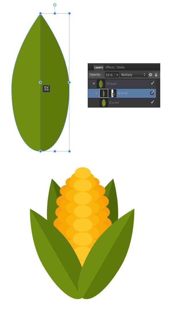 attach the leaves to the corn