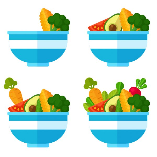 Start filling the bowl with veggies