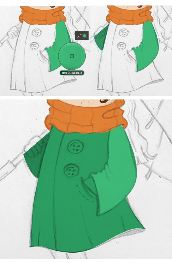 use the eyedropper tool and finish drawing the coat