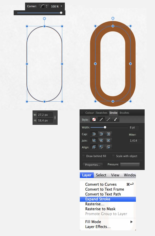 make a handle using the Rectangle Tool M