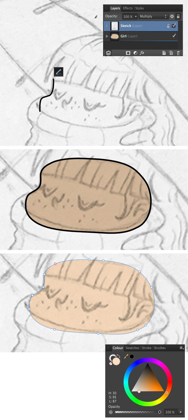 start outlining the face with Pencil Tool