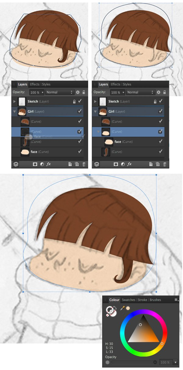 place one shape inside the other in layers panel