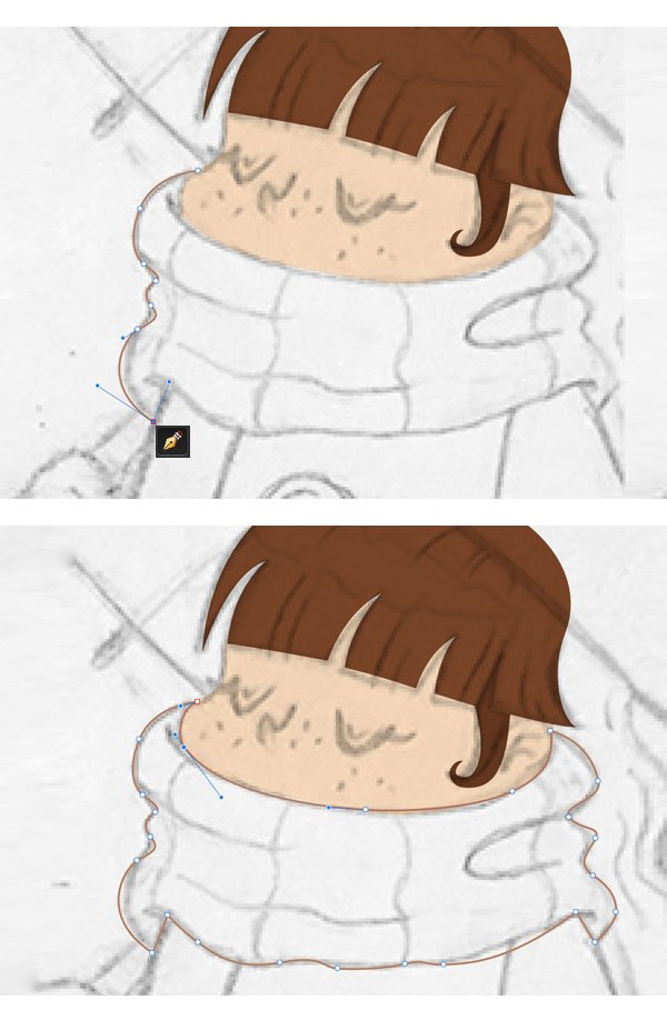 Take the Pen Tool P and start outlining the scarf