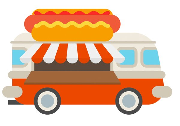 Place the hot-dog on top of the van