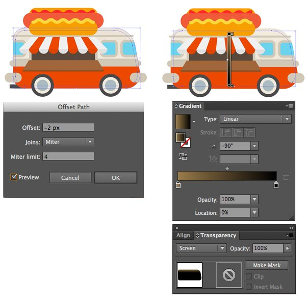 add a highlight to the van with offset path