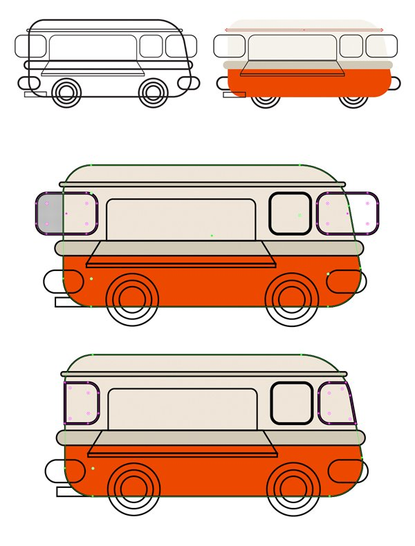 apply color to the base of the van