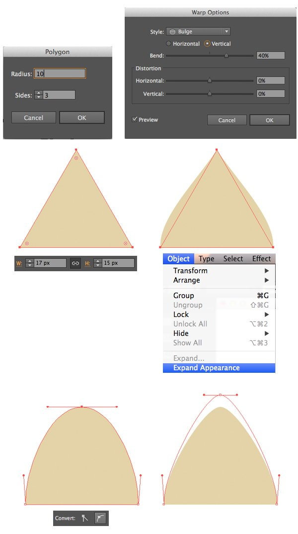 form the cats ear with polygon tool