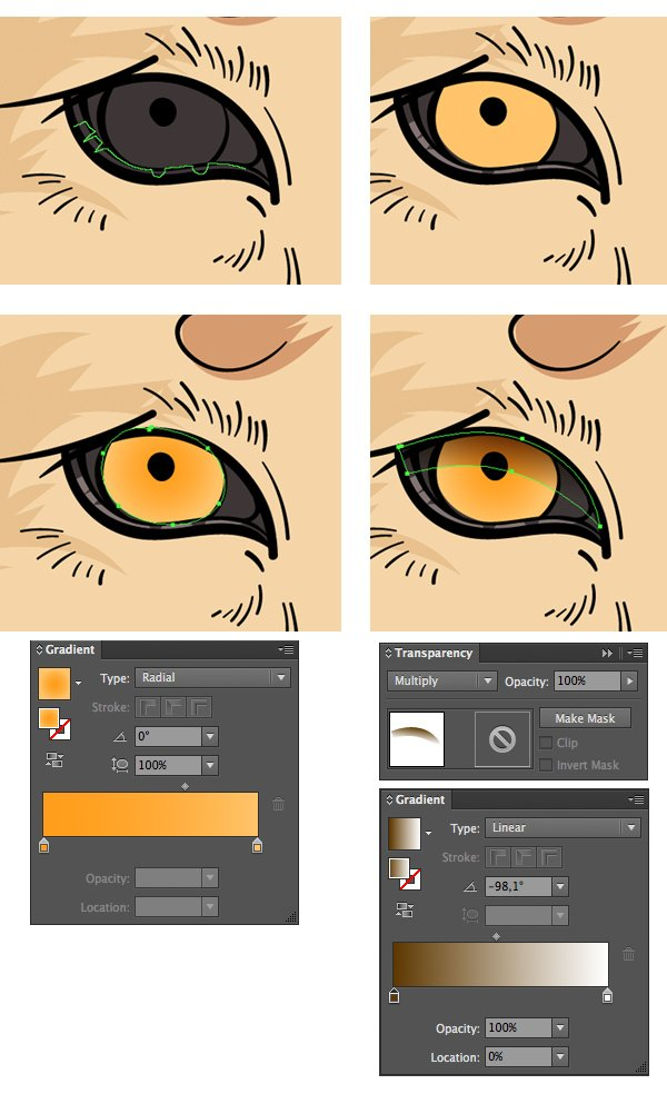 color the eyes with gradients and add a shadow