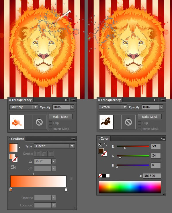 apply Screen and Multiply Blending Mode to the spots