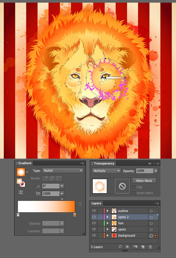 add more grunge spots on top of the lion
