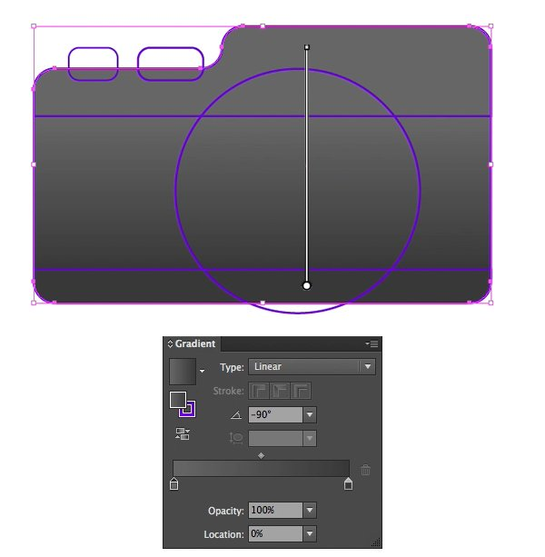 Fill the base of the camera with dark-grey linear gradient