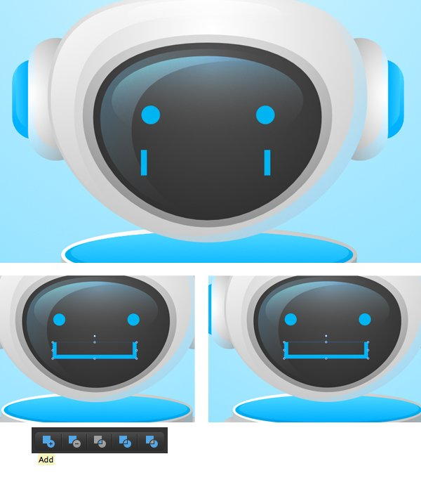 make a friendly face of the robot