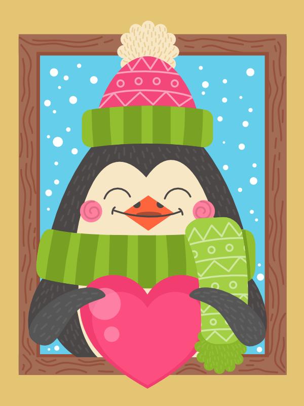 cartoon penguin winter illustration in affinity designer
