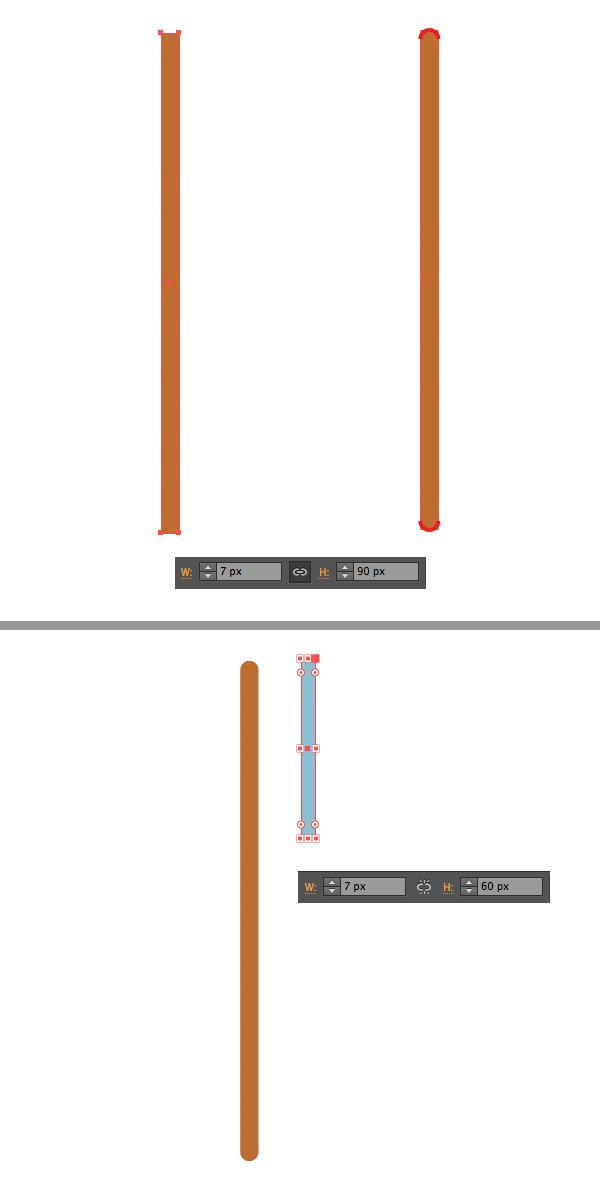 make a tree trunk with rectangle tool