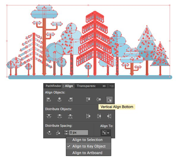 align the trees to key object